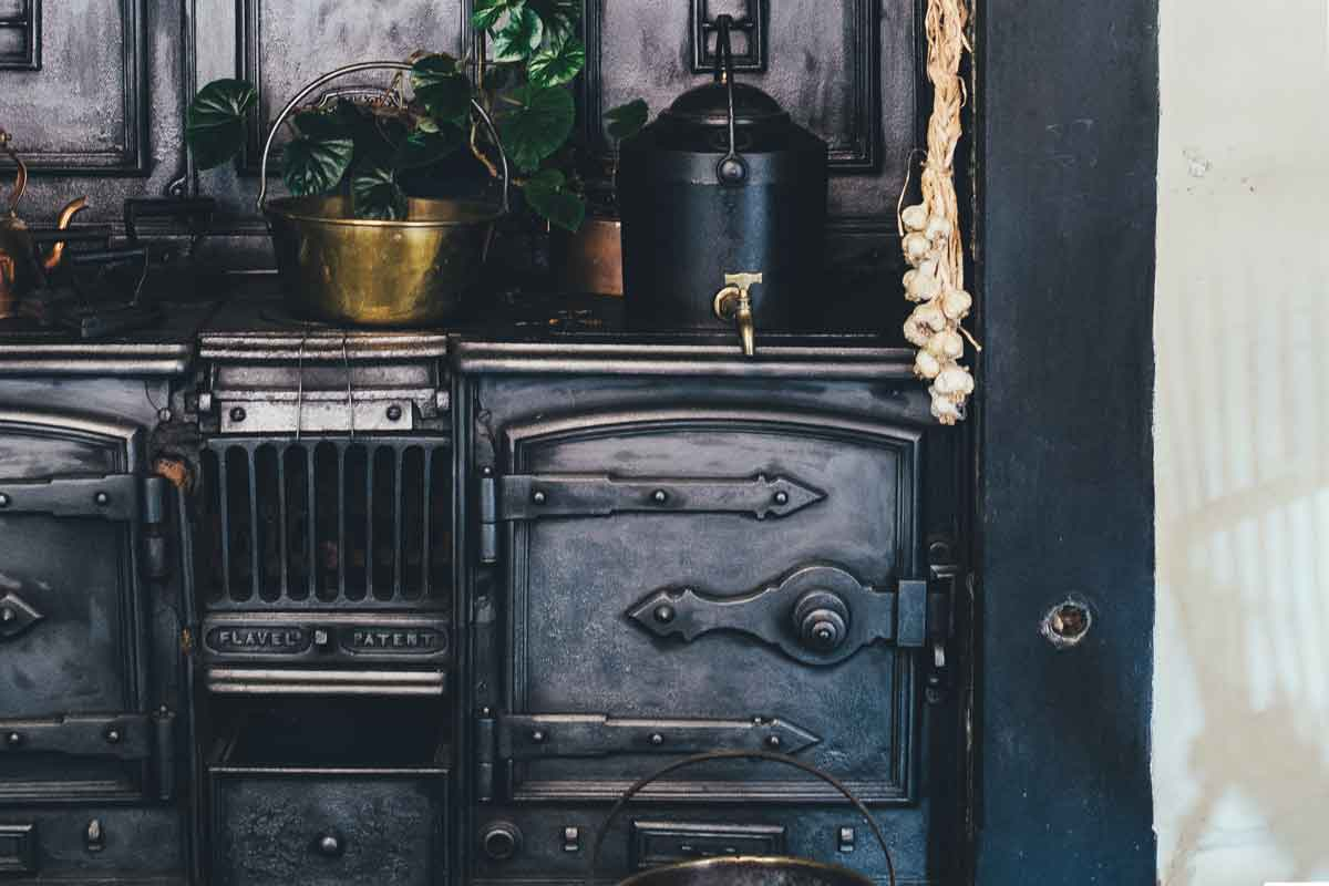 Black cast iron old fashioned oven.