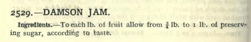 Mrs Beeton's damson jam ingredients.