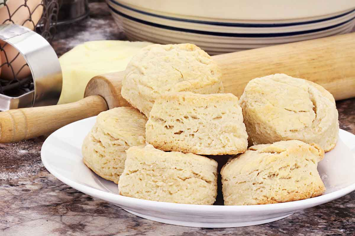 Scones on a white plate.