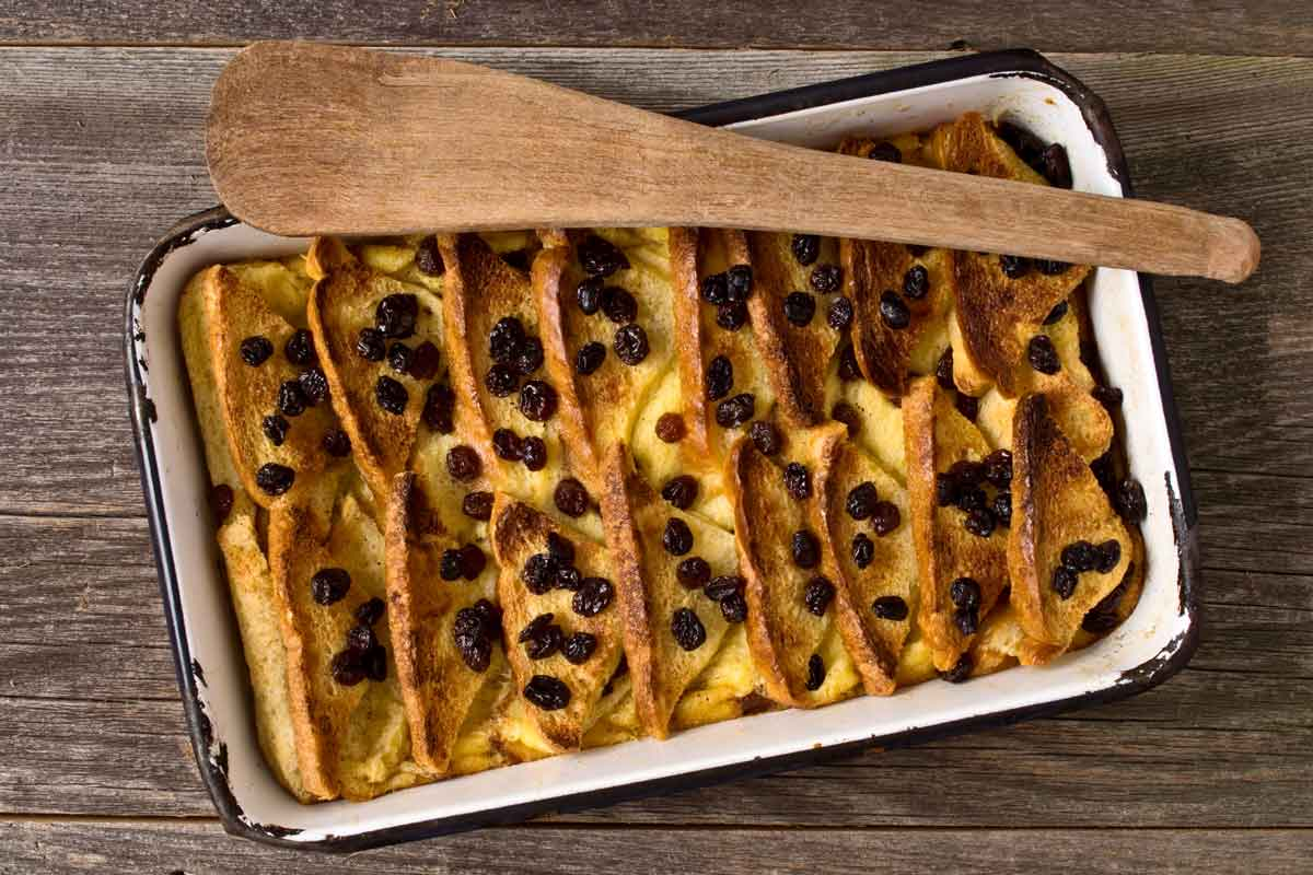 A baking pan containing traditional bread and butter pudding.